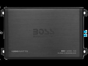 BOSS - ELITE - 1200 Watts, MINI Class D Mono Amplifier, LED End Panels, Remote Sub Level Control