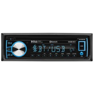 BOSS - ELITE - Single Din DVD/CD/MP3/AM/FM Receiver w/ Bluetooth, RGB Illumination, Detachable Face