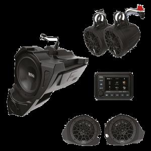 "BOSS - Polaris RZR 2014-2020 5 Amplified Plug 'n Play Spkr Kit w/ 5"" Touchscreen and 10"" Sub"