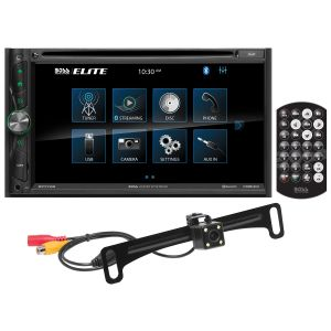 """BOSS - ELITE - Double Din DVD BT w/ Android Mirroring/Lic Plate Camera 6.95"""" TFT Wireless Remote"""