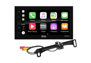 """BOSS - ELITE - Double Din Mechless BT CarPlay & Android Auto w/Lic Plate Camera 6.75"""" TFT Remote"""