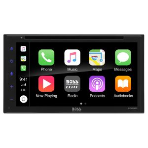 """BOSS - ELITE - Double Din BT DVD CarPlay/Android Auto  6.75"""" TFT Wireless Remote 80x4"""