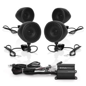 BOSS - ATV Bluetooth BLACK 4-Speaker System with 4CH amp