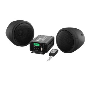 BOSS - Black 3inch Bluetooth Motorcycle / UTV Speaker & Amp System with 1PR 3inch speakers
