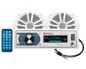 BOSS - In-Dash Marine Gauge Media AM/FM Receiver, MR6W 6.5inch–180 Watts 2-Way Marine Speaker & Mran