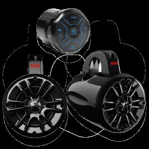 BOSS - Bluetooth 2 Channel in-Dash Gauge All-terrain Amplifier & Speaker System