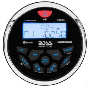 BOSS - Bluetooth Marine Gauge Digital Media Receiver (Round)