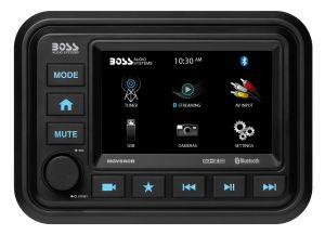 BOSS - Bluetooth In-Dash Marine Gauge Digital Media AM/FM Receiver
