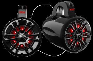 """BOSS - 4"""" 2 Way Marine Waketower Speaker Pair 400 Watts RGB LED"""